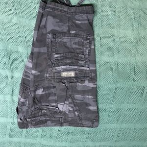 New Union Bay Cargo Shorts. Blue and black camo